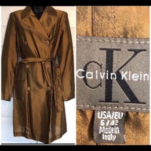 CALVIN KLEIN METALLIC BRONZE TRENCH COAT